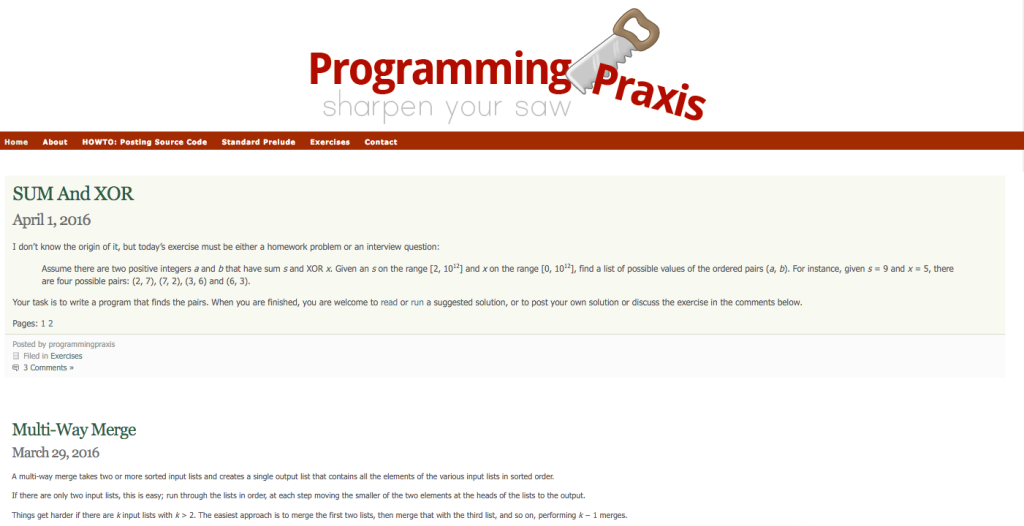 https://programmingpraxis.com/