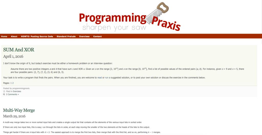 https://programmingpraxis.com/