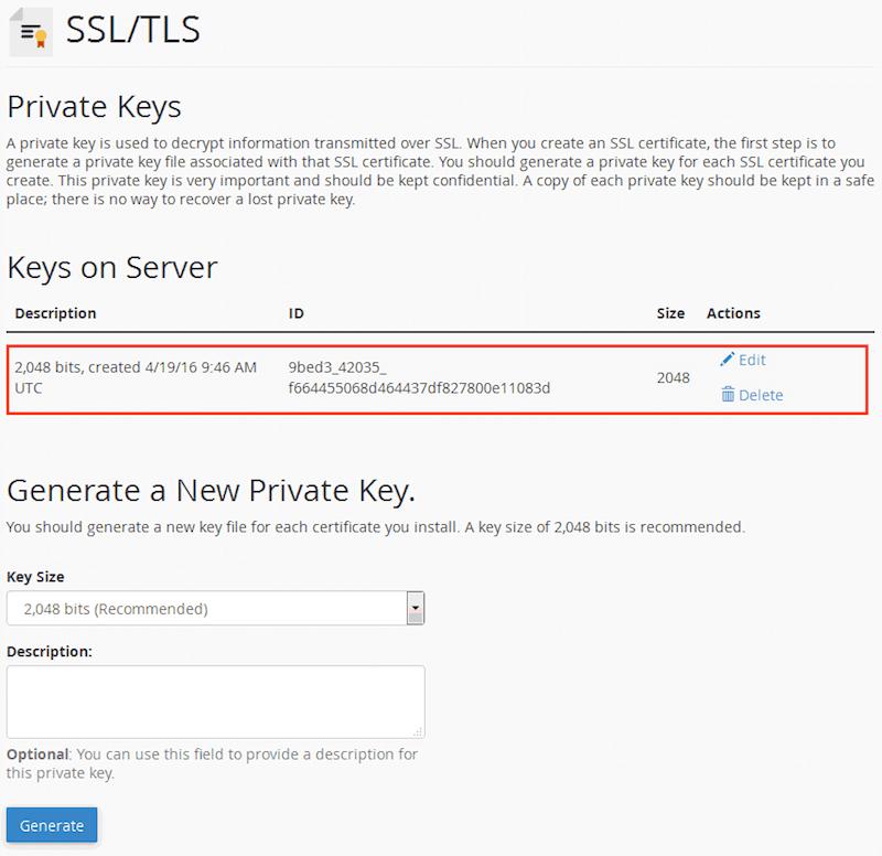 Если вы вернетесь на страницу «Private Keys», то увидите этот ключ в списке.