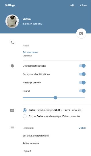 Хакер перенаправляется к учетной записи Telegram жертвы