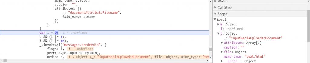 Telegram хранит MIME-тип файла в качестве объекта «t»