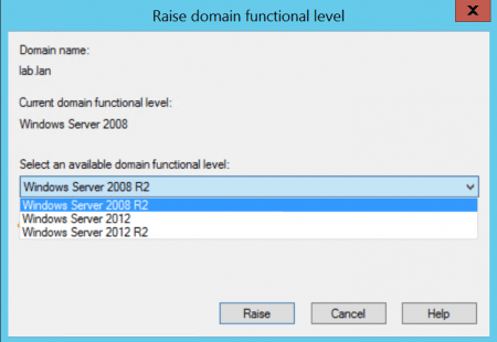 Как определить/повысить функциональный уровень домена/леса Active Directory?