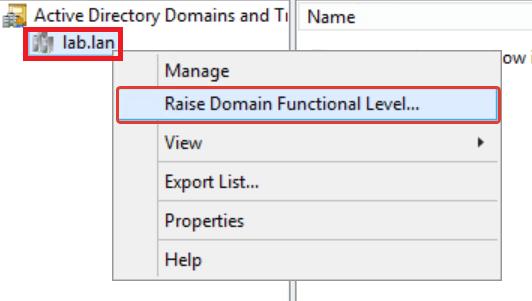 Как повысить функциональный уровень домена через GUI
