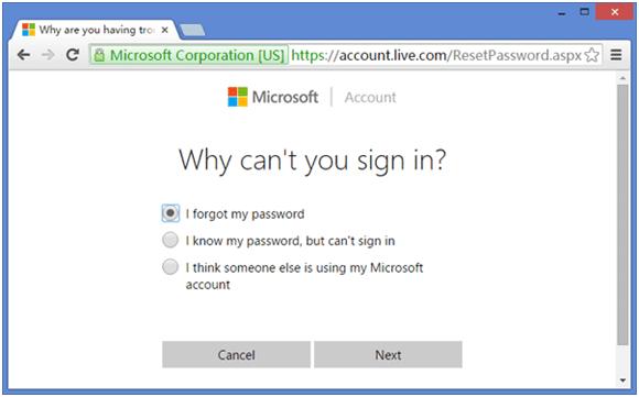 страницу сброса пароля учетной записи Майкрософт