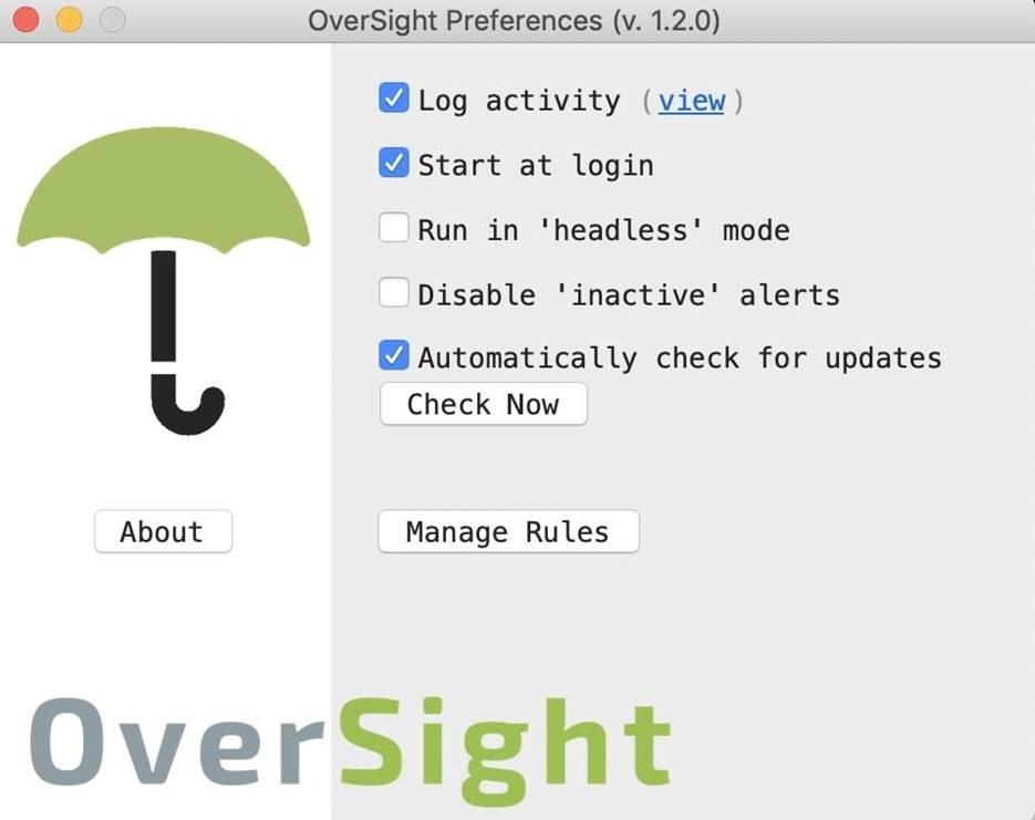 Раздел с настройками OverSight