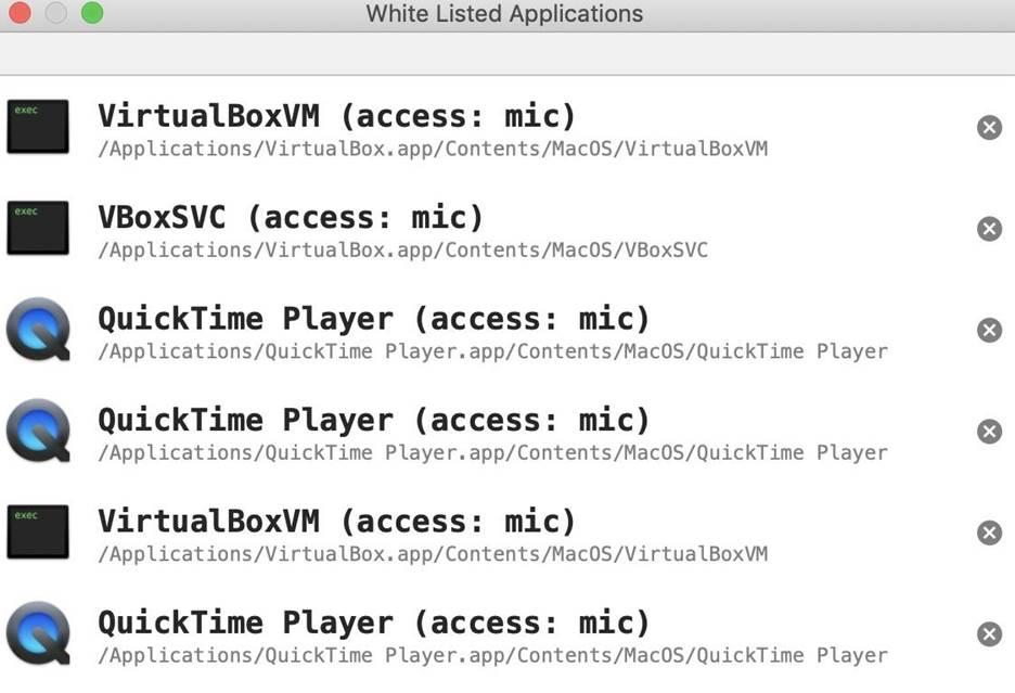 Белый список приложений, которым разрешен доступ к устройствам