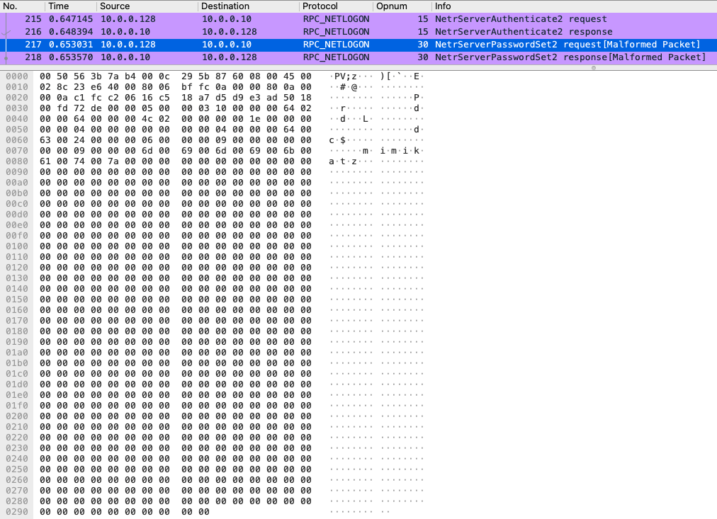 Трафик запроса на сброс пароля методом NetrServerPasswordSet2
