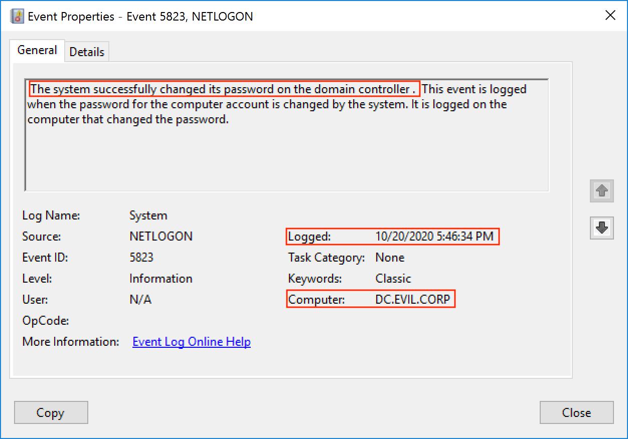 Событие 5823. Пароль учетной записи контроллера домена был успешно изменен системой в 5:46:34 PM