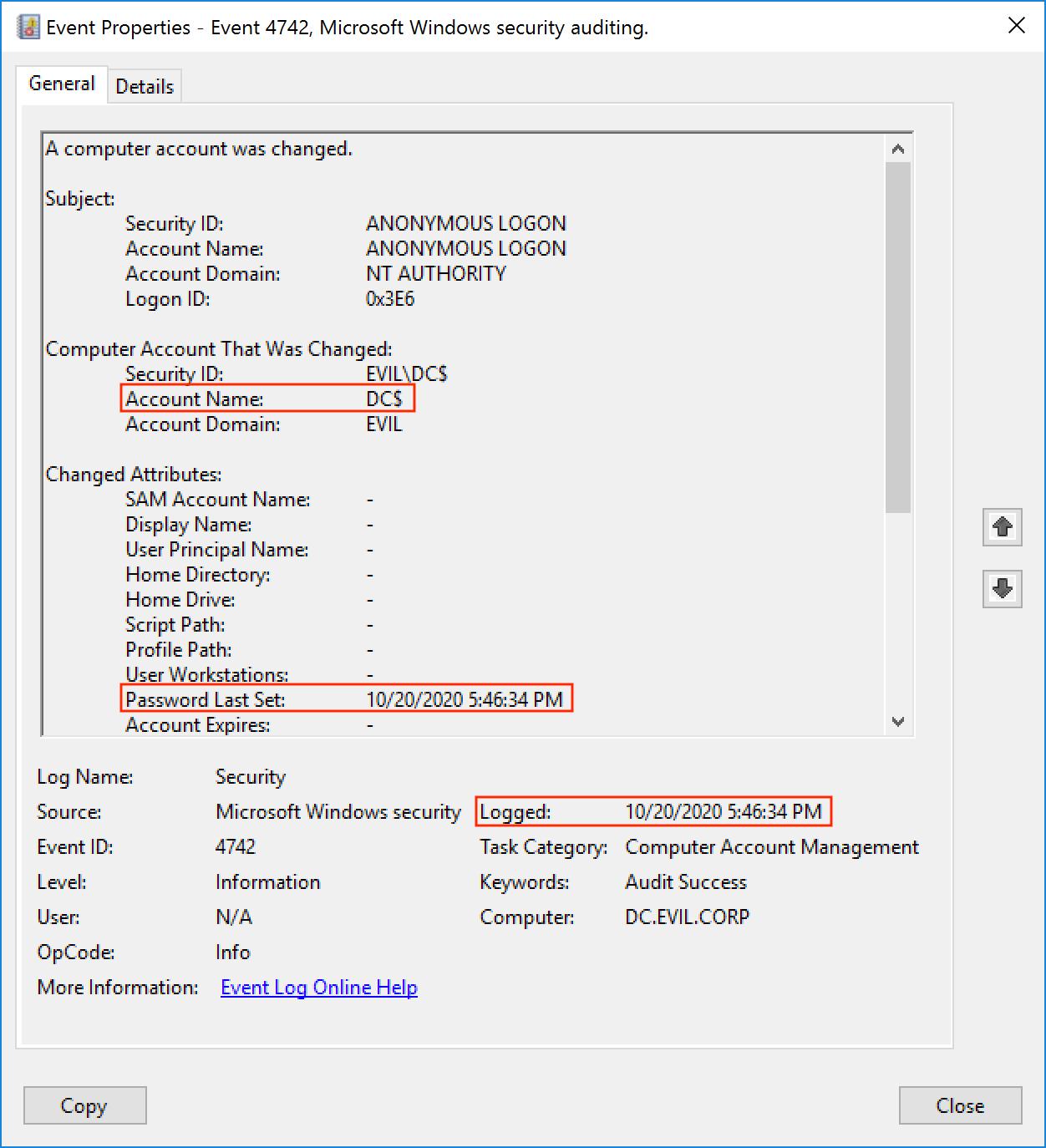 Событие 4742. Пароль учетной записи DC$ был изменен в 5:46:34 PM