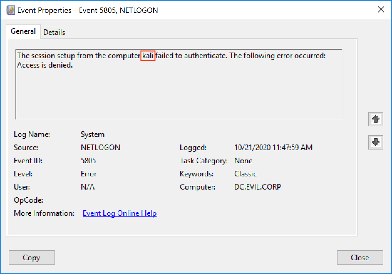 Событие 5805. Ошибка аутентификации сессии с хоста kali. Доступ запрещен