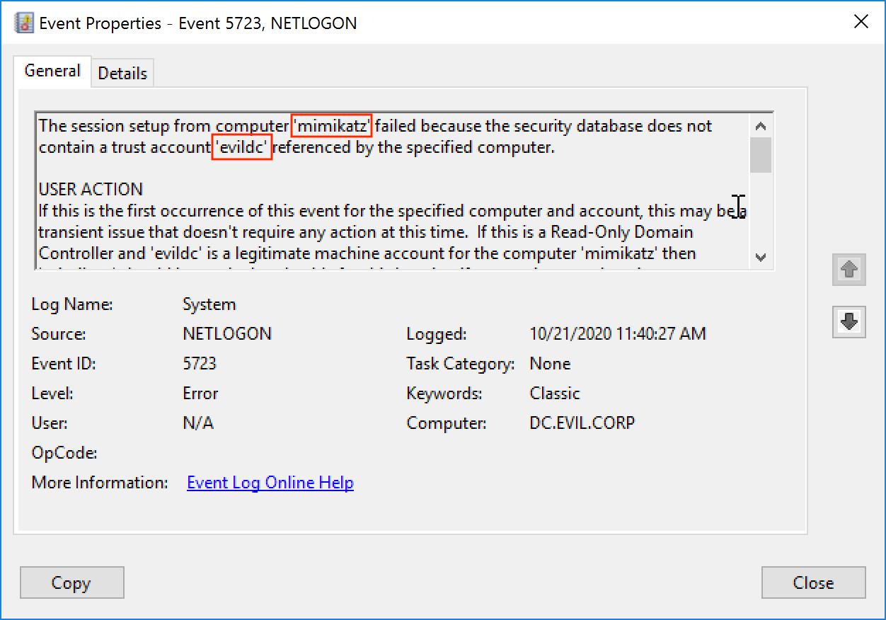 Событие 5723. Ошибка установления сессии с хоста mimikatz из-за отсутствия в базе данных безопасности аккаунта evildc