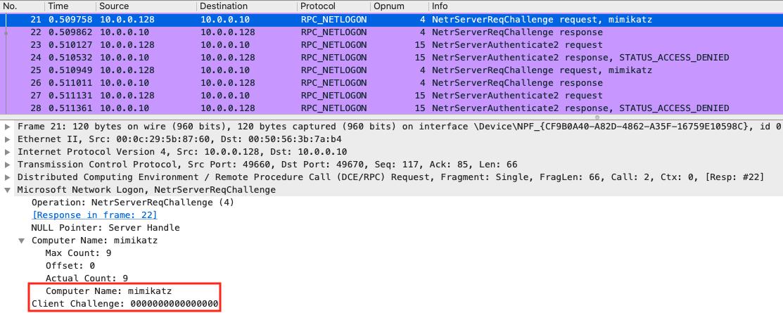 Трафик Mimikatz версии 2.2.0-20200916 при обходе аутентификации